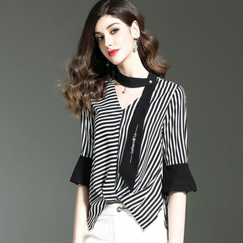 chiffon Black white stripe blouse F040512