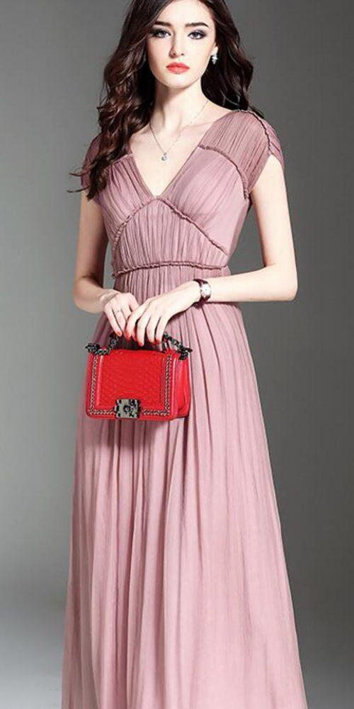 H pink pure silk long dress